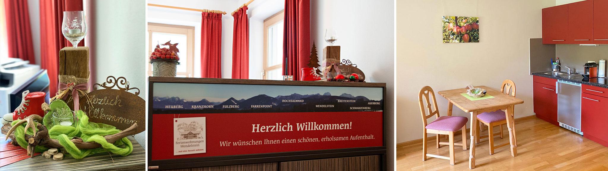 Rezeptionsbereich Ferienwohungen Wendelstein